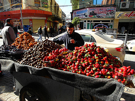 selling strawberries and chestnuts