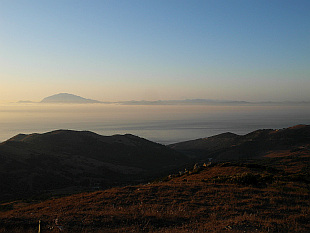 Gibraltar strait by sunrise, in the back Morocco