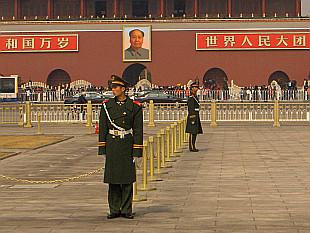 Guarding flag or Mao?