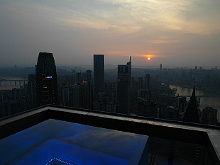 Chongqing sunset from top of Westin hotel