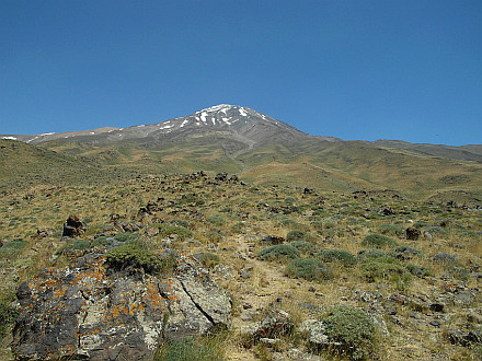 look back to Damavand while descending to the valley