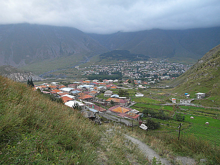 walking up from Kazbegi