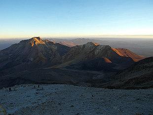 climbing up Chachani, sunrise at 5800m
