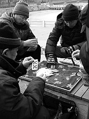 playing cards in the Labor Park
