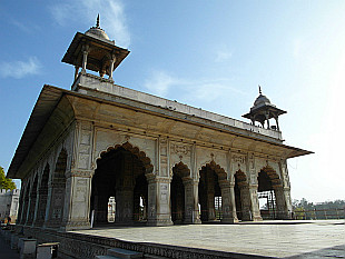 a pavilion inside of the Red Fort