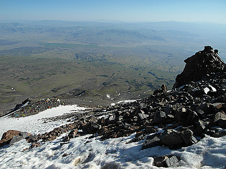 at 4300m, looking down to C1 and plains below Ararat