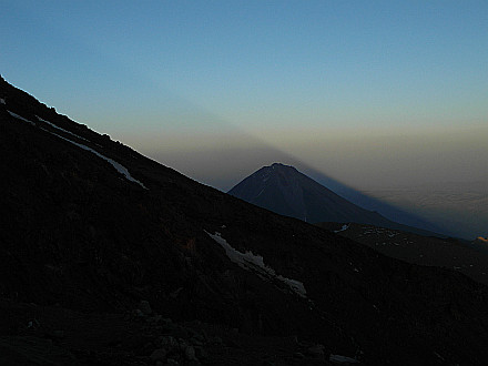 evening view to the East, Ararat throws it's shadow to the sky
