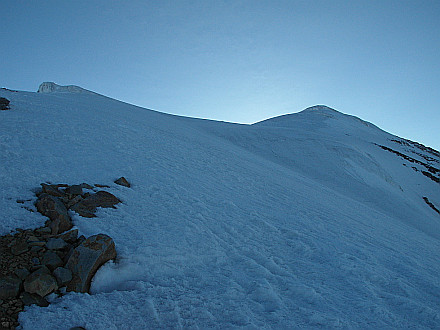 glacier begins at 4950m, summit on the right