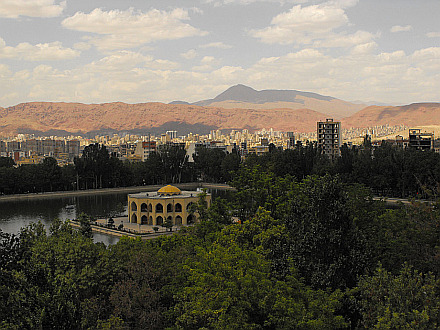 view over Tabriz from the El Goli park