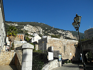view up the hill on Gibraltar Cable Car