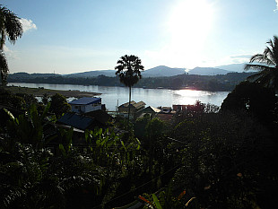 view over the Mekong River to Thailand side