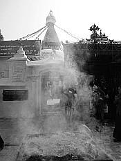 Boudha behind a smoke