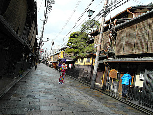in the geisha lanes of quarter Gion