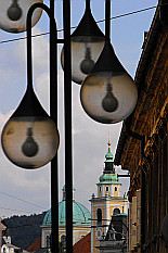 Ljubljana seen thru the bulbs