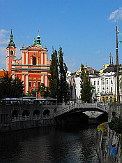 the river Ljubljanica near Triple Bridge