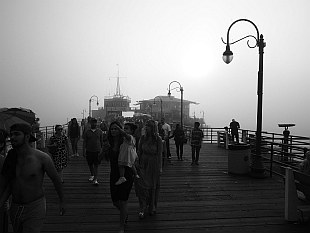 Santa Monica Pier covered in fog