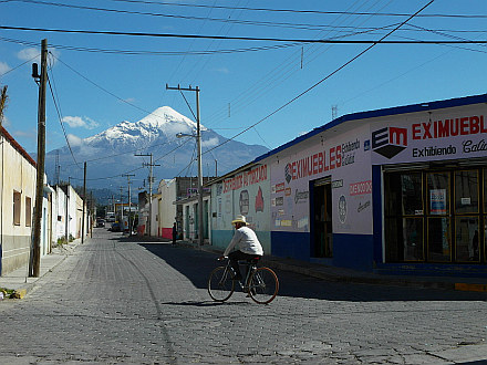 in little town Tlachichuca, Pico de Orizaba (Citlaltepetl) rising in the back