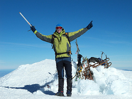mission accomplished, standing at the summit of Pico de Orizaba 5650m, highest point in Mexico and third highest in North America