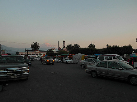 evening arrival to Amecameca, snowcapped Popocatepetl in the back