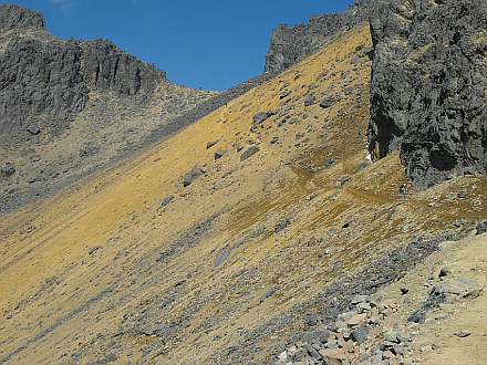 walking up to Refugio 19, here between second (4380m) and third (4525m) saddle