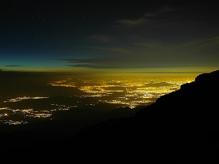 night view towards Mexico City (just a small part of it is visible)