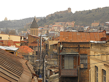view of the old Tbilisi and Narikala Fortress