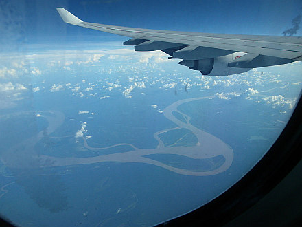 flying over Brazil, the Amazon River