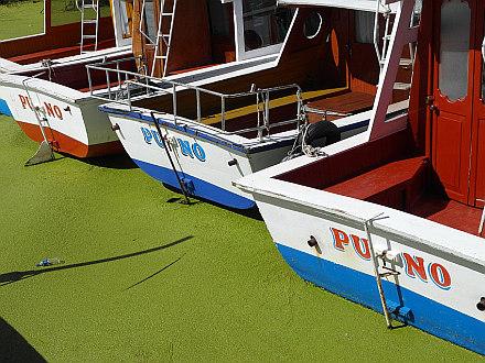 Puno boats on the Lake Titicaca