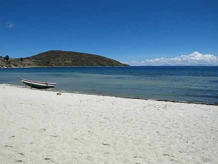 Lake Titicaca beach a la Caribbean