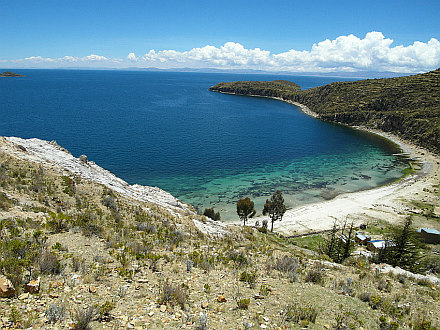 crystal clear water and white sand beach at 3830m a.s.l