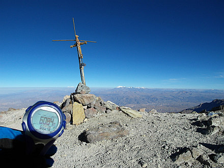 small summit cross at the top (altimeter shows few meters above actual height)