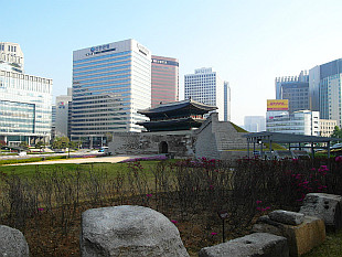 Sungnyemun Gate and downtown skycrapers