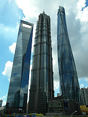 Three very tall... Shanghai World Financial Center (492m), Jin Mao Tower (421m) and Shanghai Tower (632m)