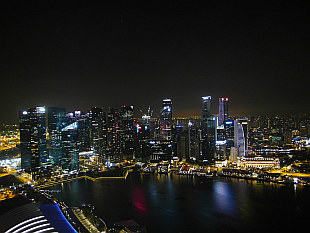 night view from Marina Bay Sands roof
