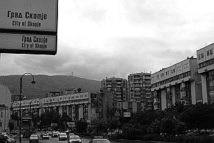 """City of Skopje"" and Mount Vodno in the back"