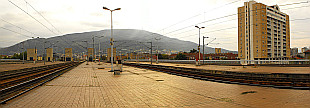 panorama of Mount Vodno from Skopje's Railway Station