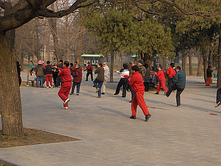 Taichi training in park next to Temple of Heaven