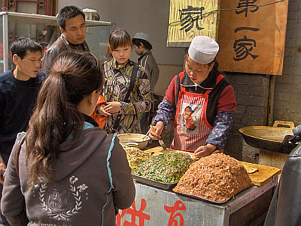 street fast-food in the Moslem Quarter in Xian