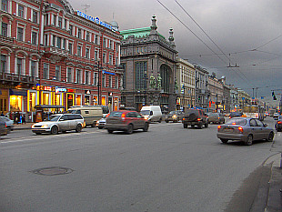 evening traffic on Nevsky Prospekt