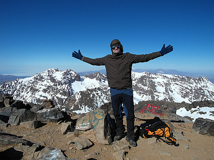 on the summit of Jbel Toubkal (4168m)