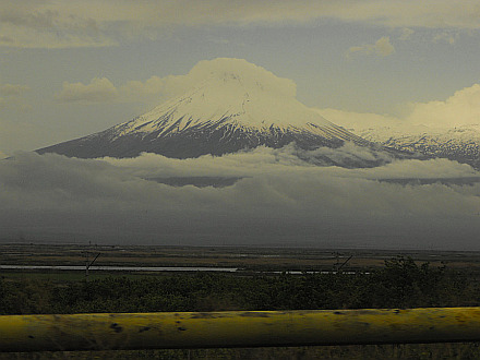 Little Ararat (3925m) seen during ride to Goris