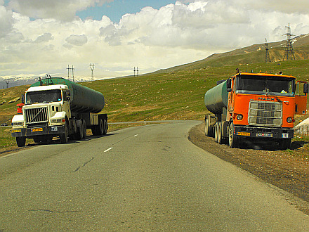 iranian trucks on the way back to Yerevan