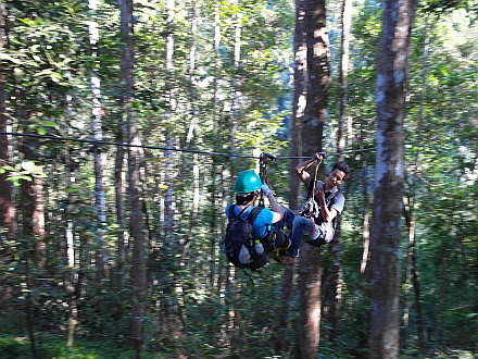 and taking many ziplines to get to our treehouse