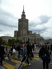 once you get out of Warsaw Main Railway Station you spot the 1950s Palace of Culture and Science