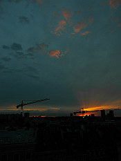sunset behind the Warsaw cranes