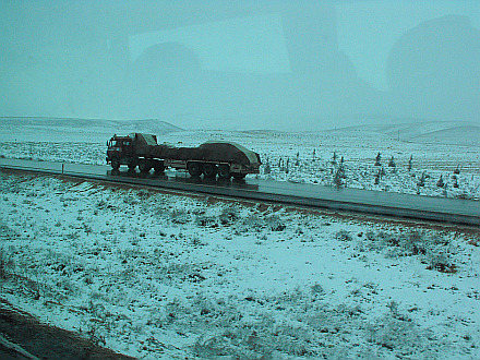 snowfall in Syria... going by bus from Damascus to Hamah